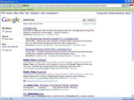 Tampilan Google dalam 9oon9 Browser
